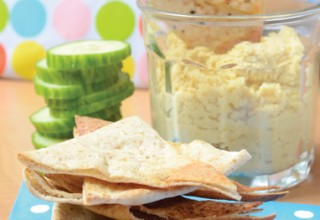 Hummus with Toasted Garlic Pita Chips by Chef/owner Wendy Murray of The Underground Café