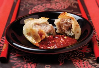 Pan Fried Pork Dumplings by Chef/owner Wei Quan Zhu of Logan Corner