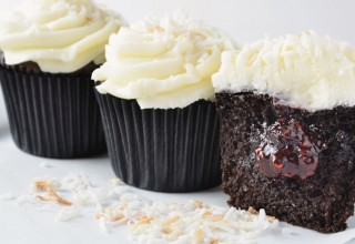 Chocolate Coconut Raspberry Cupcakes by Baker/owner Derrick Godfrey, The Cupcake Corner
