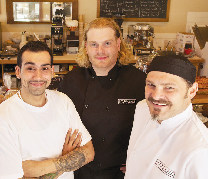 From left to right: Bakery Chef Roland Gregoire, Executive Kitchen Manager Derek Pauls and Executive Chef Johnny Goletz.