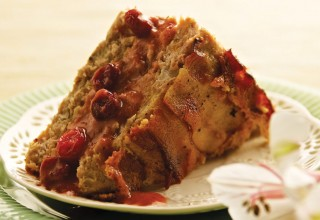 Bacon-wrapped Chicken Loaf with Cranberry-Orange Sauce by Chef Talia Syrie of The Tallest Poppy