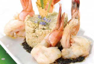 Cocoa Chimichurri Prawns by Chefs Marion Robinson and Peter Long of The Star Conservatory Restaurant