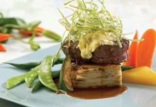 Grilled Grass-Fed Beef Steak with Potato Gratin by Chef Lorna Murdoch of fusion grill