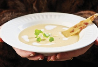 Pea Soup with Bacon Brittle by Chef Neil Higginson of Fort Gibraltar