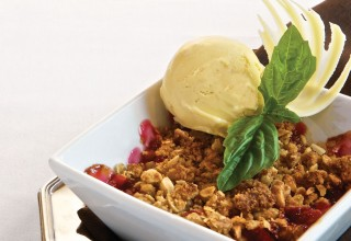 Warm Rhubarb Crisp with Basil and White Chocolate Ice Cream by Pastry Chef Richard Warren of The Fort Garry Hotel