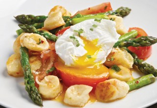 Gnudi with Asparagus, Tomato and Poached Egg by Chef Alexander Svenne of Bistro 7 1/4