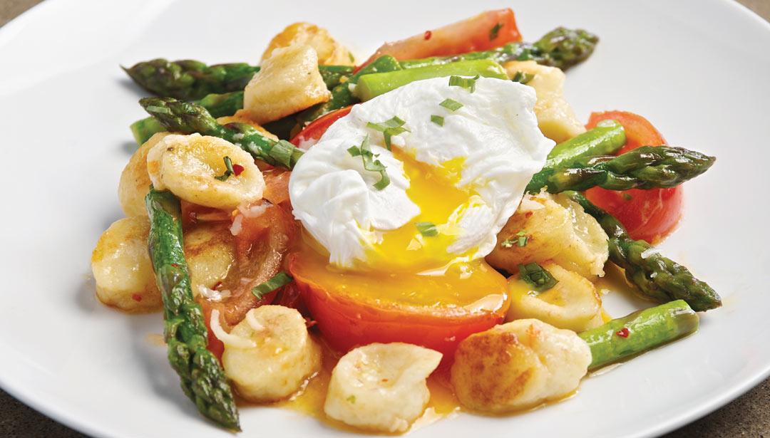 Gnudi with Asparagus, tomato and poached egg