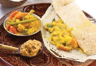 Masala Dosa with Sambar and Coconut Chutney by Chef Peter Bastian of Taste of Sri Lanka
