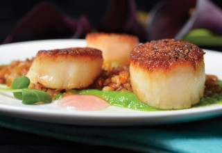 Pan-Seared Scallops by Chef Norman Pastorin of The Grove Pub & Restaurant