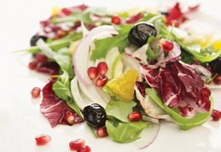 Fennel, Arugula and Radicchio Salad with Oil-cured Olives by Chef Anna Paganelli of De Luca's Cooking School