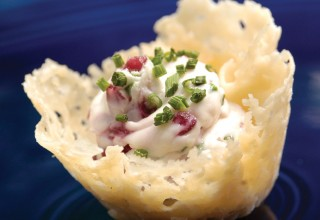 Cranberry Goat Cheese Parfait in Parmesan Crisps by Chef Dave Bergmann of Bergmann's on Lombard