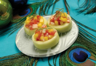 Mango Lobster Relish in Cucumber Cups by Chef Dave Bergmann of Bergmann's on Lombard