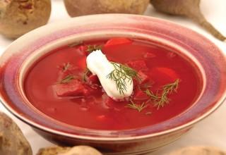 Beet Borscht by Cookbook author Pamela Reiss of Desserts Plus