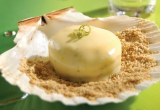 Deconstructed, Frozen Key Lime Tart with Tequila Mint Syrup