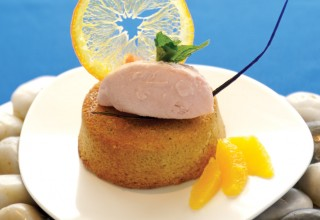 Ginger Financier with Rhubarb Ice Cream by Chef Barry Saunders of The Current