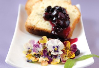 Lemon Verbena Loaf with Candied Pansy Salad