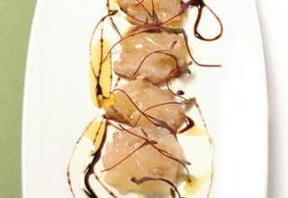 Lobster Tail Sashimi • Curry-Oil • Soy-Syrup by Chef Makoto Ono of Gluttons Bistro