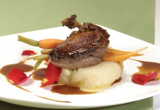 Marinated Squab Pan Roasted • Potato Purée • Garlic Infused Squab Jus by Chef Makoto Ono of Gluttons Bistro