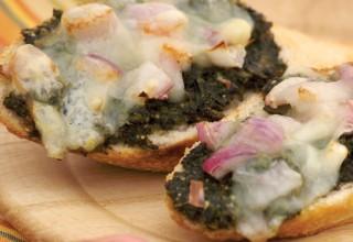 Pesto Shallot Bruschetta by Owner/baker Tom Janzen of Bread & Circuses