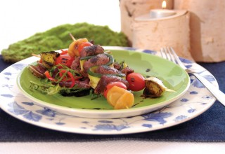 Venison Brochettes with Pomegranate and Sour Cherry by Chef Angela Baschuk of Pineridge Hollow