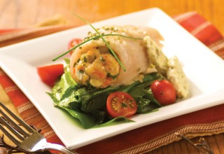 Winnipeg Lake Fish Roulade with Sorrel Tomato Salad by Chef Michael Neil of Pineridge Hollow