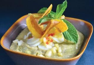 Avocado, Hearts of Palm, Coconut and Pineapple Vichyssiose by Chef/owner Dario Pineda-Gutierrez of Cafe Dario