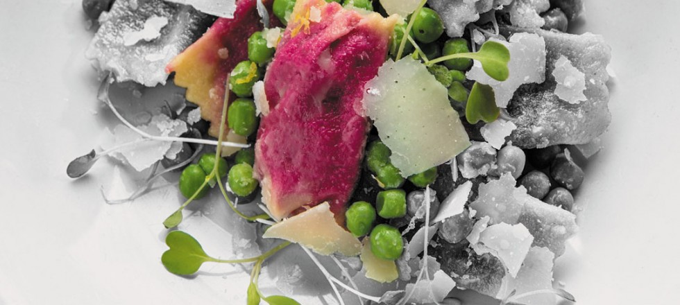 Beet and goat cheese agnolotti by Chef Eric Lee of Pizzeria Gusto