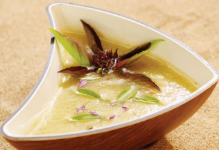 Sparkling Basil Fruit Soup by Chef Ben Kramer of Dandelion Eatery