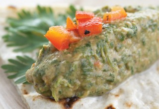 Vegan charred red pepper spinach and cilantro dip by Chef Ray Miller of York The Hotel