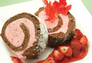 Raspberry Roulade by Chef Helmut Mathae, Pastry instructor at Louis Riel Arts & Technology Centre