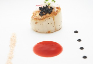 Scallops with Miso Pomegranate Vinaigrette by Chef Michael Schafer of Sydney's At The Forks