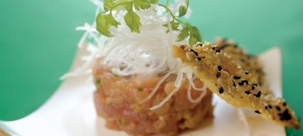 Ahi Tuna Tartare with Sesame Tuile by Chef Makoto Ono of Edohei