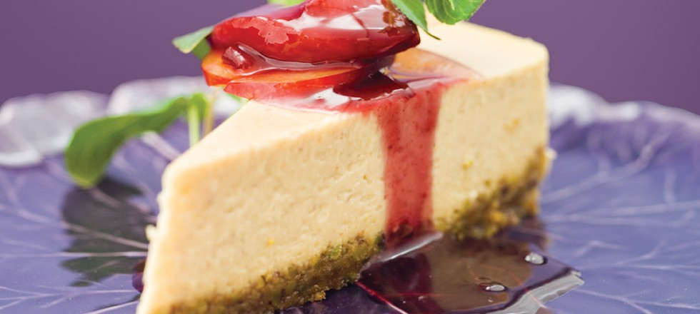 Banana Goat Cheese Cake with Pistachio Crust and Poached Plum Compote by Chef Ben Kramer of Lux Solé