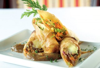 Brie and Walnut Spring Roll with Apple Butter Sauce by Sous Chef Joël Lamoreux of La Vieille Gare