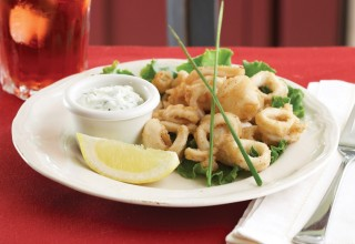 Calamari with Roasted Garlic Mayo and Tzatziki by Executive Chef Paul Masserey of Pasta La Vista/Breadworks