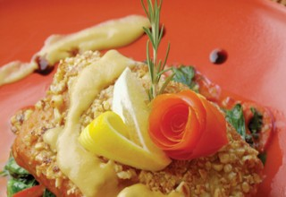 Cashew Crusted Salmon with Maple-Miso Glaze by Chef/owner Chris Stoneham of Enorae Bistro