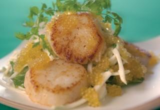 Celery Root Salad, Seared Scallops and Marinated Manitoba Golden Caviar by Chef Makoto Ono of Edohei