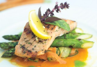 Grilled Salmon with Sweet Mustard Glaze by Chef Joe Dokuchie of Tavern In The Park