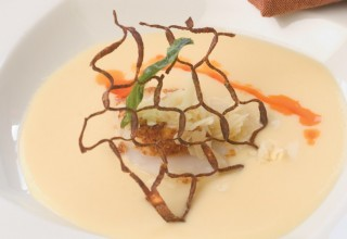 Turnip and White Cheddar Purée with Sweet Potato Crusted Sea Scallops by Chef/owner Michael Schafer of Sydney's