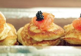 Blinis with Gravlax by Chef Patrick Shrupka of Amici