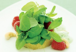 Minted Raspberry and Pea Shoot Salad on Brioche by Chef Lorna Murdochof fusion grill