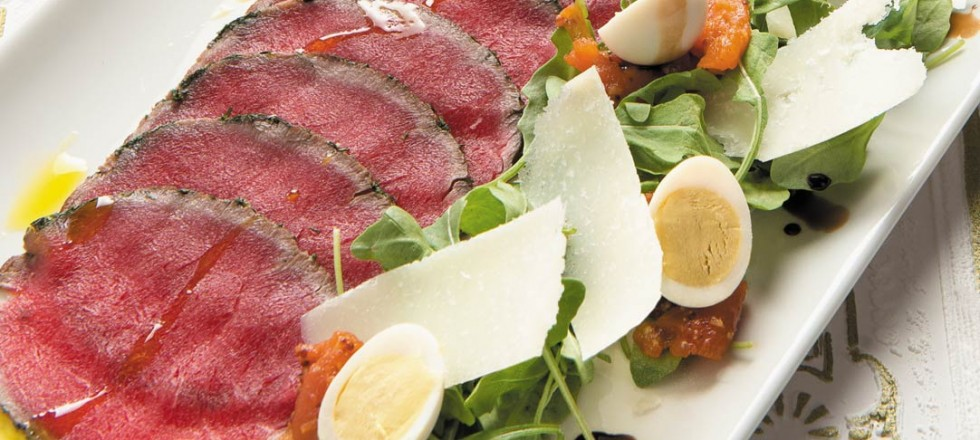 Herb-crusted Bison Carpaccio with Tomato Chutney by Jane's Restaurant