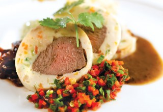 Bison Tenderloin Wrapped with Chicken Mousse by Chef/Owner Craig Guenther of The Market 520