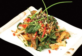 Oriental Noodle Salad with Chinese Greens and Red Rice Vinaigrette by Chef Andy Arjoon of Coyote Cafe