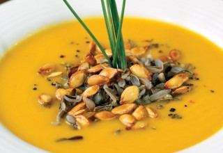 Roasted butternut squash and wild rice soup by Chef Kim Hayes of Just Off Broadway