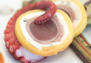 Seared Ahi and Goat Cheese Roulade with Confit Octopus by Culinary Team Canada