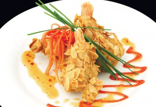 Tempura Almond Shrimp by Chef Chris Chornopyski of Liberty Grill