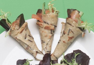 Wild Rice Hand Rolls Filled with Smoked Steelhead Trout and Cream Cheese by Chef Jason Wortzman, Wortzman's Catering