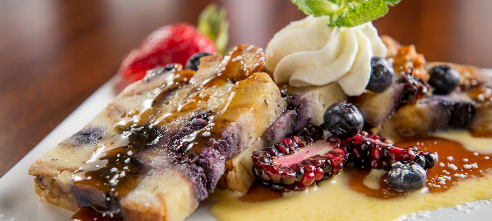 Blueberry Bread Pudding with Crème Anglaise and Bourbon Caramel Sauce ...