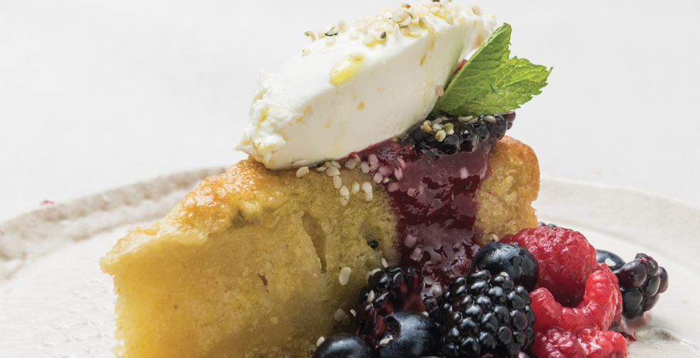 Hemp Oil Cake with Lemon Mint Sorbet and Macerated Berries ...